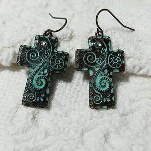"""Copper """"Bliss"""" Cross Earrings"""